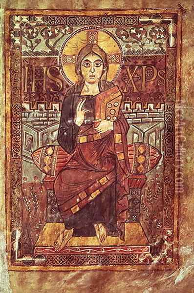 Christ in Majesty, from the Godescale Gospel, c.781-783 AD Oil Painting - Anonymous Artist