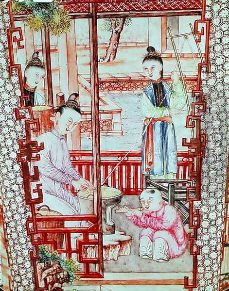 Detail from a vase depicting women spinning silk Oil Painting - Anonymous Artist