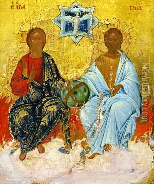 Icon of the Holy Trinity Oil Painting - Anonymous Artist