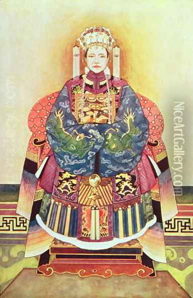 Portrait of Tzu Hsi, the Empress Dowager (1835-1908) Oil Painting - Anonymous Artist