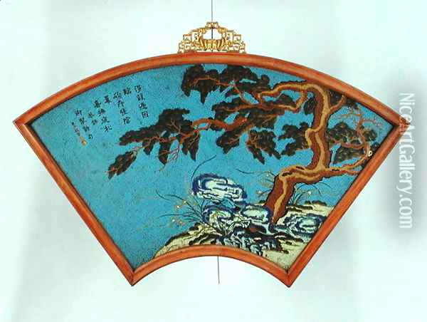 Imperial fan shaped wall panel, Qianlong period, 1736-95 Oil Painting - Anonymous Artist