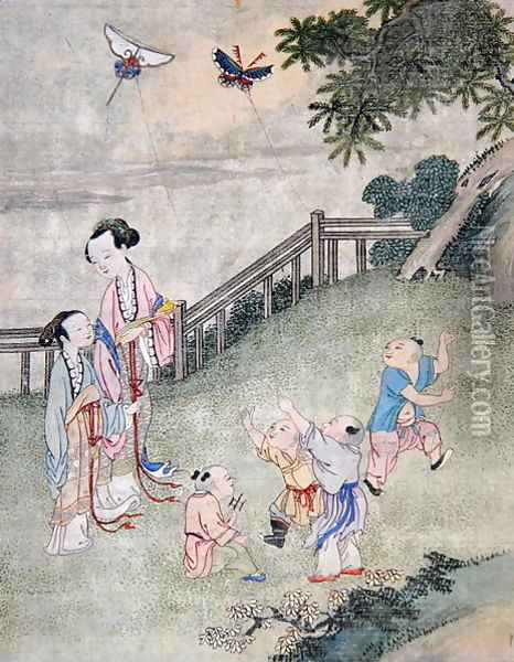 Children playing with kites Oil Painting - Anonymous Artist