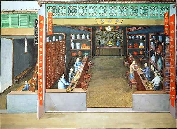 Chinese Medicine, c.1830 Oil Painting - Anonymous Artist