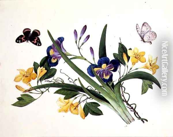 Blue Iris and Insects Oil Painting - Anonymous Artist