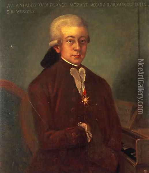 Portrait of Wolfgang Amadeus Mozart Oil Painting - Anonymous Artist