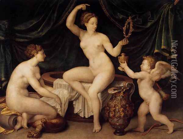 Venus at Her Toilet c. 1550 Oil Painting - Anonymous Artist