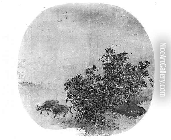 Landscape with water buffalo, Song Dynasty Oil Painting - Anonymous Artist