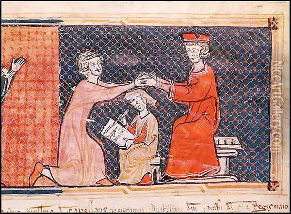 The Royal Prosecutor, the Scribe and the Feudal Lord, from 'Capbreu de Clayra et de Millas' 1292 Oil Painting - Anonymous Artist