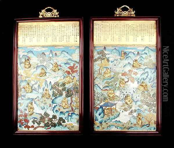 Pair of plaques depicting buddhist figures in a Chinese landscape, Qianlong period, 1736-95 Oil Painting - Anonymous Artist