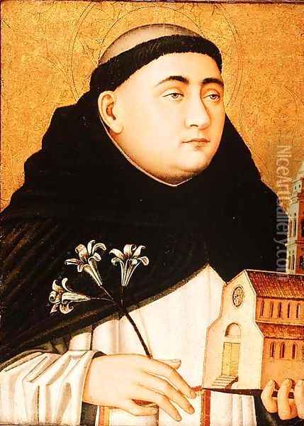 Bust of Saint Dominic, c.1450 Oil Painting - Anonymous Artist