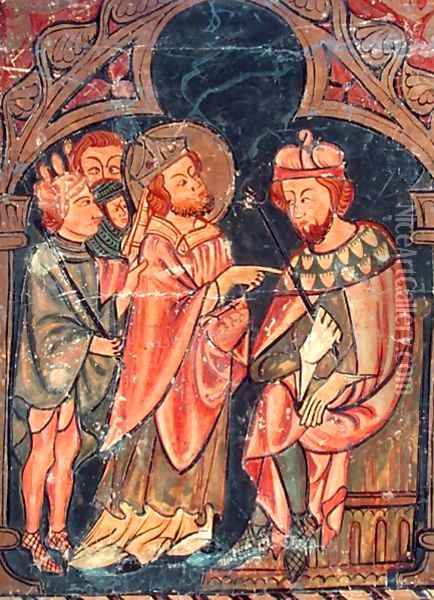 St. Cyprian (c.200-258) Bishop of Carthage brought before Emperor Valerian (r.253-60) 1300-25 Oil Painting - Anonymous Artist