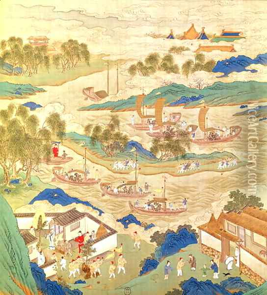 Emperor Hui Tsung (r.1100-26) transporting pierced stones and strange shaped trees, from a History of the Emperors of China Oil Painting - Anonymous Artist