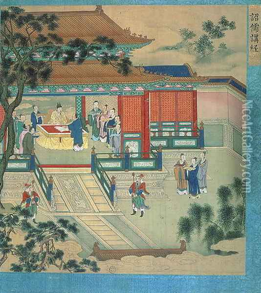 Emperor Hsien Ti (fl.189-220) with scholars translating classical texts, from a history of Chinese emperors Oil Painting - Anonymous Artist