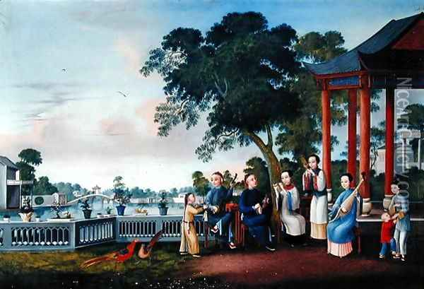A Music Party on a Lakeside Terrace, c.1790 Oil Painting - Anonymous Artist