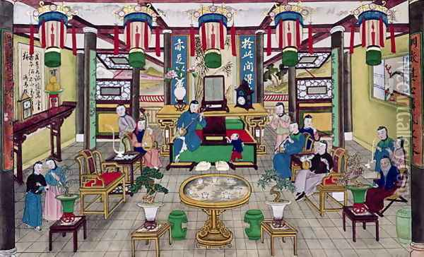 A Room in the House of Mr. Kong, a Peking Merchant Oil Painting - Anonymous Artist