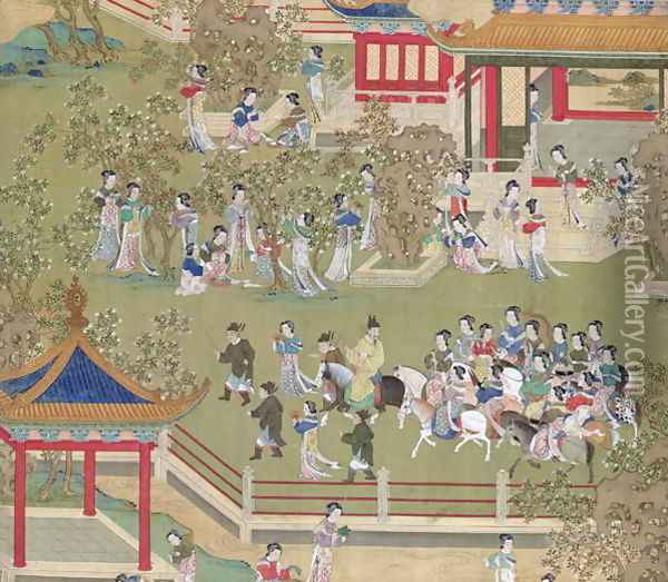 Emperor Yang Ti (581-618) strolling in his gardens with his wives, from a history of Chinese emperors Oil Painting - Anonymous Artist