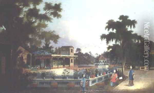 Chinese Garden with Three Ladies Oil Painting - Anonymous Artist