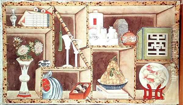 Trompe l'Oeil of Chinese Objects Oil Painting - Anonymous Artist