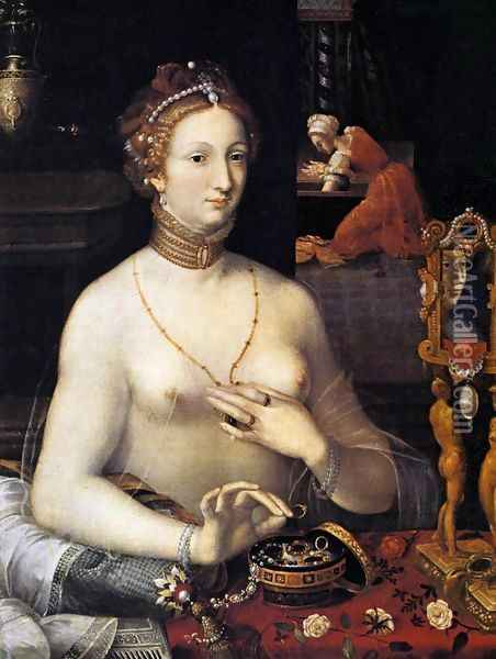 Diana at the Bath c. 1590 Oil Painting - Anonymous Artist