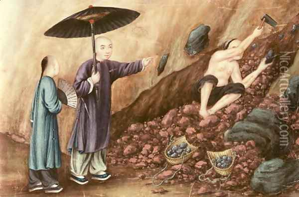 Searching for Iron Ore Oil Painting - Anonymous Artist