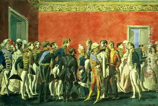 A Reception in the Embassy of Teheran, 1830s Oil Painting - Anonymous Artist
