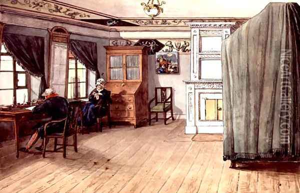 Neo-Classical Writing Room with an Elderly Couple, 1820 Oil Painting - Anonymous Artist