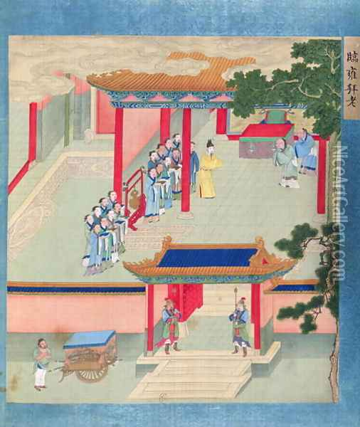 Emperor Ming Ti (r.57-75 AD) bestowing honours on two aged men, from a history of Chinese emperors Oil Painting - Anonymous Artist