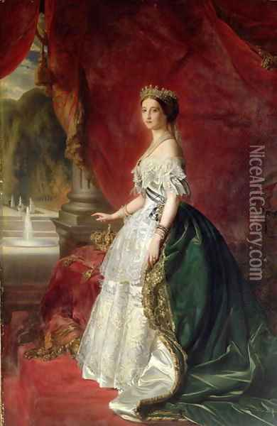 Portrait of Empress Eugenie of France Oil Painting - Anonymous Artist