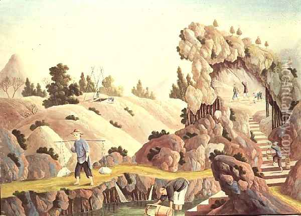 Peasants quarrying and collecting kaolin for a porcelain factory Oil Painting - Anonymous Artist
