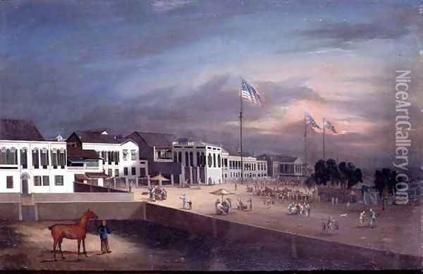 he International Factories (The Hongs) at Canton, c.1830-35 Oil Painting - Anonymous Artist