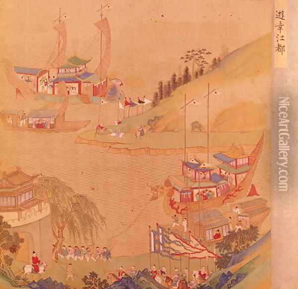 The Second Sui Emperor, Yangdi (569-618) with his fleet of sailing craft, from a history of Chinese emperors Oil Painting - Anonymous Artist
