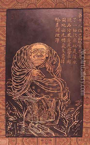 Lohan Panthaka, leaf from a book illustrating and describing sixteen Buddhist Lohans Oil Painting - Anonymous Artist