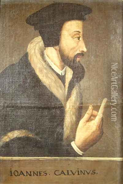 Portrait of John Calvin 1509-64 French theologian and reformer Oil Painting - Anonymous Artist
