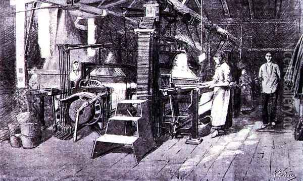 Woollen Mill, from the 'Catalan Illustrated', 15 June 1888 Oil Painting - Anonymous Artist