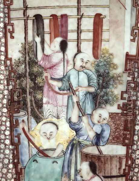 Detail from a vase depicting men dyeing silk Oil Painting - Anonymous Artist