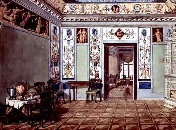 Neo-Classical Etruscan Breakfast Room, 1820 Oil Painting - Anonymous Artist