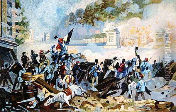 Wallonian volunteers attacking on 23rd October 1830 during the Dutch invasion of Belgium to try to reassert control Oil Painting - Anonymous Artist