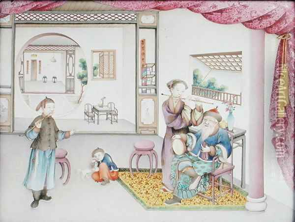 Imperial Canton panel, Qianlong period, 1736-95 Oil Painting - Anonymous Artist
