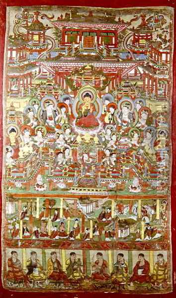 Paradise of Amitabha, from Dunhuang, Gansu Province Oil Painting - Anonymous Artist