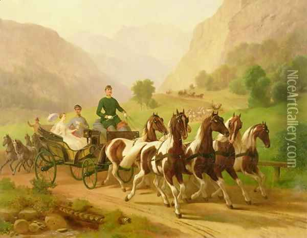 Emperor Franz Joseph I of Austria, being driven in his carriage with his wife Elizabeth of Bavaria in Bad Ischl, 1855 Oil Painting - Anonymous Artist