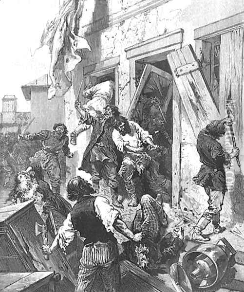Attack on a Jewish house in Konnovino, near Nijni-Novgorod, 7th June 1884, in LIllustration, 2nd August 1884, from a sketch by Karazine, correspondent of LIllustration Oil Painting - Anonymous Artist