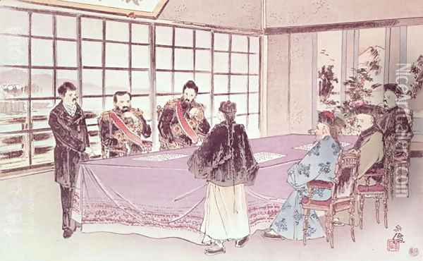 The Japanese ministers I-Tso and Mou-Tsou discuss with the Chinese envoy Ri-Ko-Sho the conditions of the Shimonoseki truce, 16th April 1895 Oil Painting - Anonymous Artist
