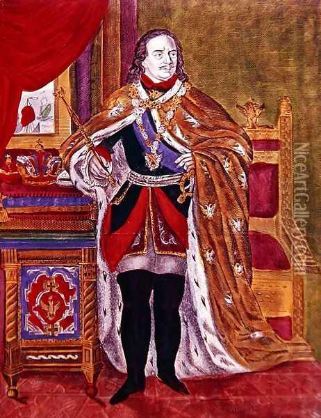Tsar Peter the Great 1672-1725, 1845 Oil Painting - Anonymous Artist