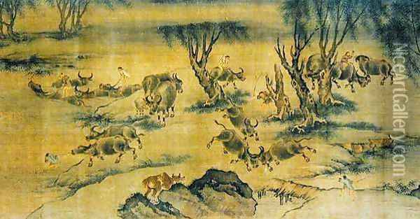 Water Buffaloes and Herd Boys, Chinese, 1368-1463 Oil Painting - Anonymous Artist