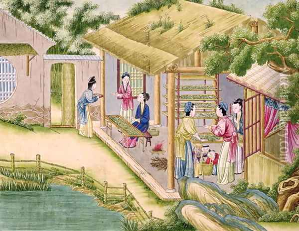 Learning about Silkworms, from a book on the silk industry Oil Painting - Anonymous Artist