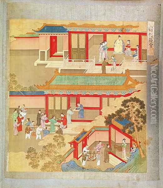 Emperor Hsuan Tsung (712-756 AD) at home, from a history of Chinese emperors Oil Painting - Anonymous Artist