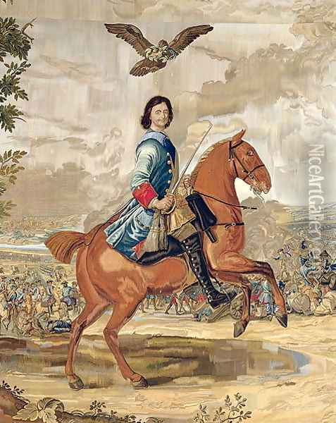 Peter I 1672-1725 the Great Triumphing Over the Defeated Swedish Army at Poltava in 1709 Oil Painting - Anonymous Artist