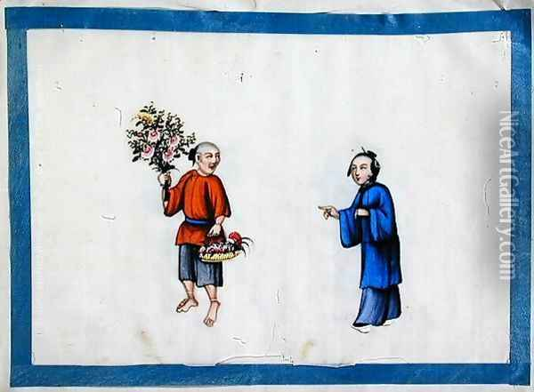 Flower seller approached by a noblewoman, 1850s Oil Painting - Anonymous Artist