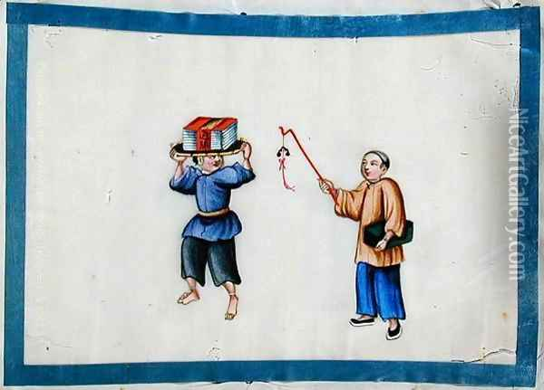 Man carrying books on his head, 1850s Oil Painting - Anonymous Artist