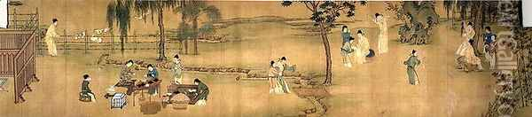 Scholars' Gathering in a Bamboo Garden (2) Oil Painting - Anonymous Artist